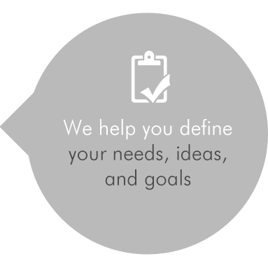 We help you define your needs, ideas, and goals